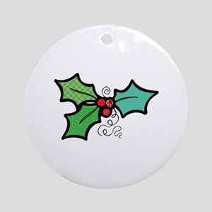 Cute Mistletoe (Holly) Design Ornament (Round)