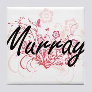 Murray surname artistic design with F Tile Coaster