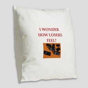 dominoes Burlap Throw Pillow