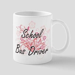 School Bus Driver Artistic Job Design with Fl Mugs