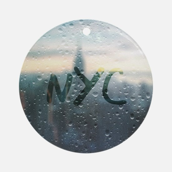 Rainy Day in NYC Round Ornament