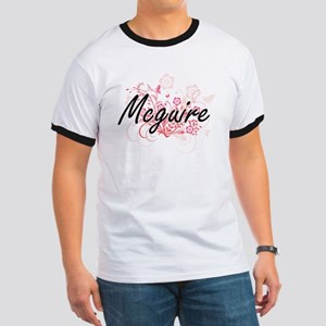 Mcguire surname artistic design with Flowe T-Shirt