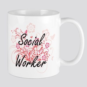 Social Worker Artistic Job Design with Flower Mugs