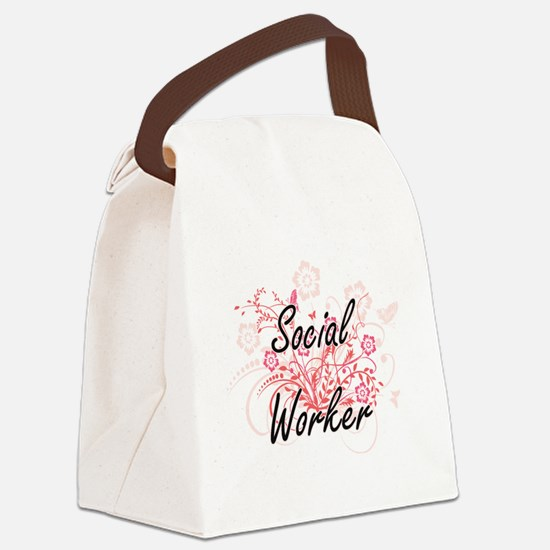 Social Worker Artistic Job Design Canvas Lunch Bag