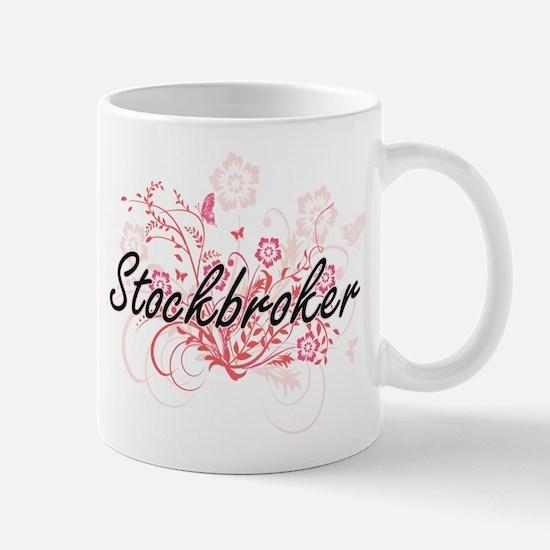 Stockbroker Artistic Job Design with Flowers Mugs