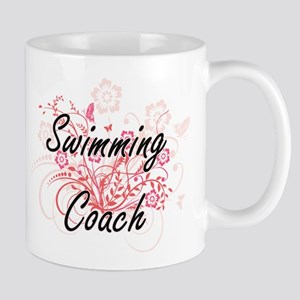 Swimming Coach Artistic Job Design with Flowe Mugs