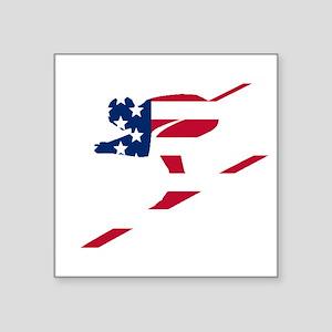 Skier American Flag Sticker