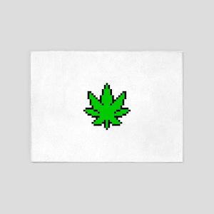 Weed Leaf Pixel 5'x7'Area Rug