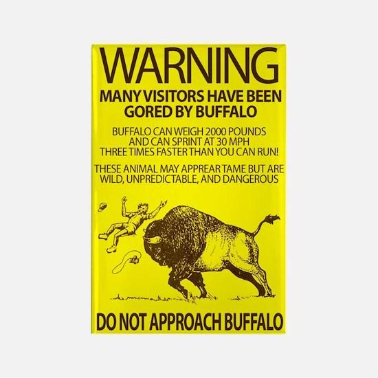 Warning: Buffalo Rectangle Magnet
