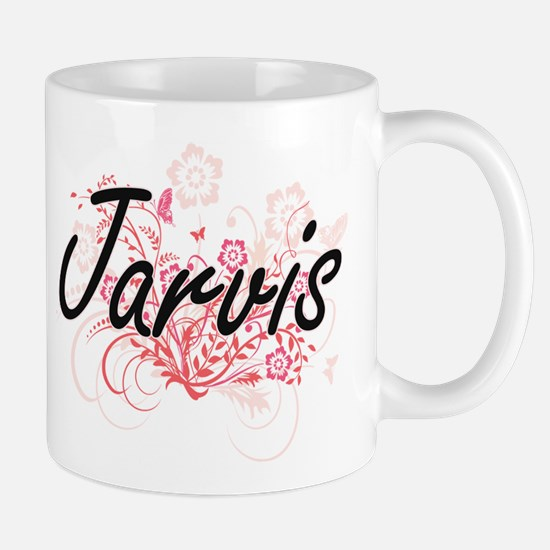 Jarvis surname artistic design with Flowers Mugs