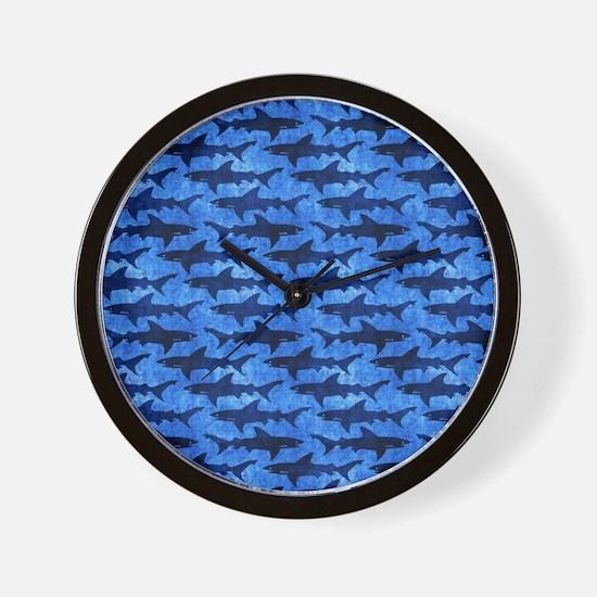 Sharks in the Deep Blue Sea Wall Clock