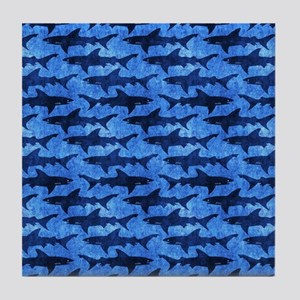 Sharks in the Deep Blue Sea Tile Coaster