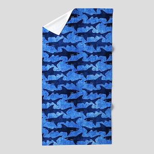 Sharks in the Deep Blue Sea Beach Towel