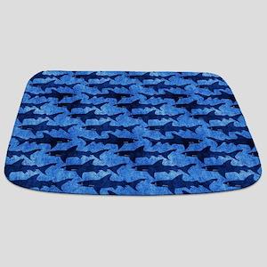 Sharks in the Deep Blue Sea Bathmat