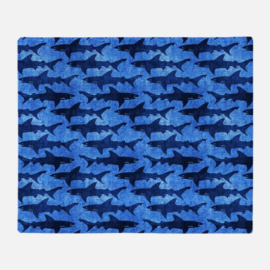 Sharks in the Deep Blue Sea Throw Blanket