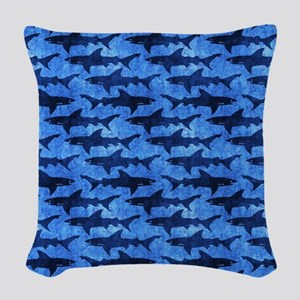 Sharks in the Deep Blue Sea Woven Throw Pillow