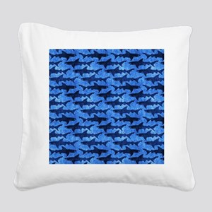 Sharks in the Deep Blue Sea Square Canvas Pillow