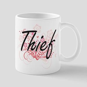 Thief Artistic Job Design with Flowers Mugs