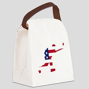 Slap Shot American Flag Canvas Lunch Bag