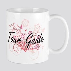 Tour Guide Artistic Job Design with Flowers Mugs