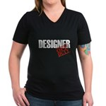 Off Duty Designer Women's V-Neck Dark T-Shirt