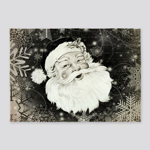 Vintage Santa Claus with snowflakes 5'x7'Area Rug