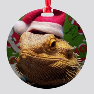 Beardie Santa Hat Round Ornament