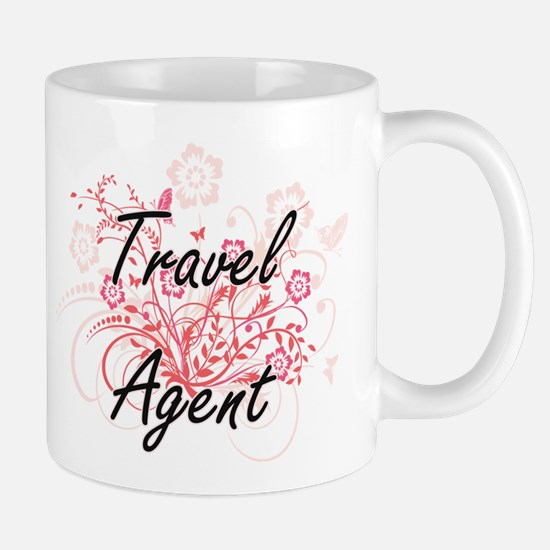 Travel Agent Artistic Job Design with Flowers Mugs