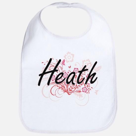 Heath surname artistic design with Flowers Bib