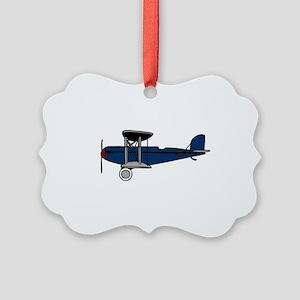 Blue Biplane Picture Ornament