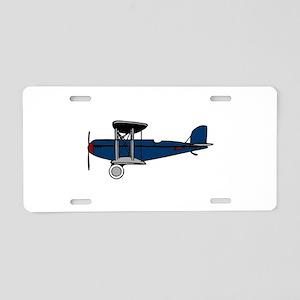 Blue Biplane Aluminum License Plate