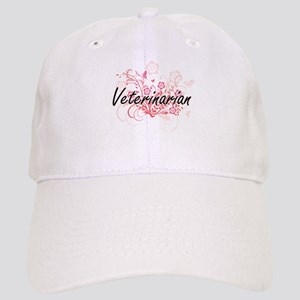 Veterinarian Artistic Job Design with Flowers Cap