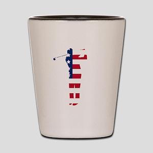 Golf Swing American Flag Shot Glass