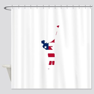 Golfer American Flag Shower Curtain
