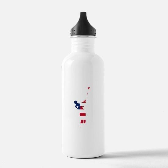 Golfer American Flag Water Bottle