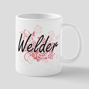 Welder Artistic Job Design with Flowers Mugs