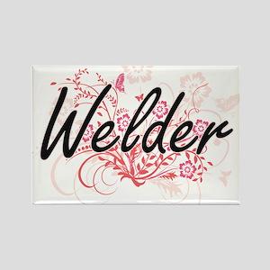 Welder Artistic Job Design with Flowers Magnets