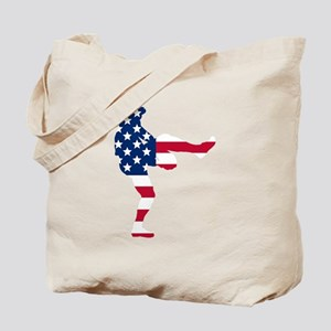 Baseball Pitcher American Flag Tote Bag