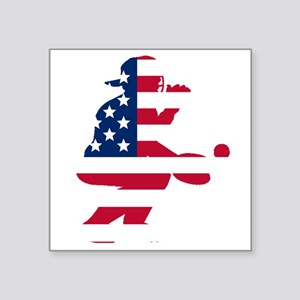 Baseball Catcher American Flag Sticker