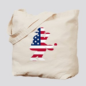 Baseball Catcher American Flag Tote Bag