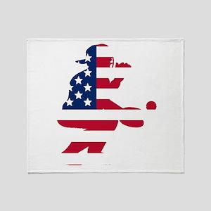 Baseball Catcher American Flag Throw Blanket