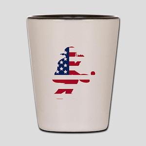 Baseball Catcher American Flag Shot Glass