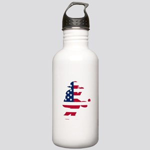 Baseball Catcher American Flag Water Bottle