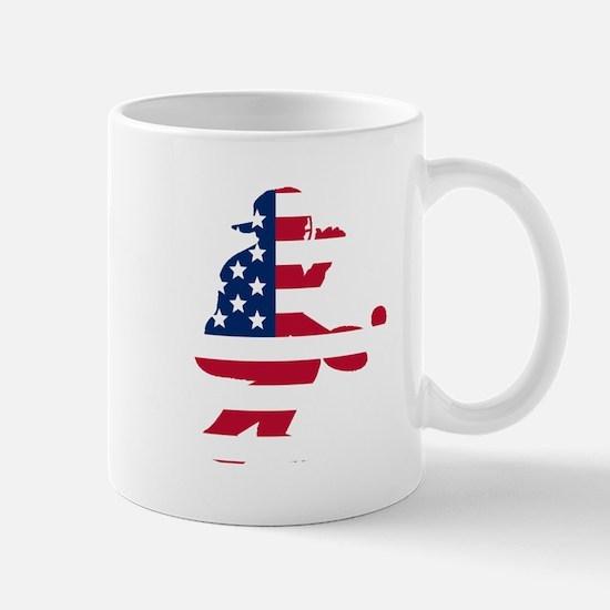 Baseball Catcher American Flag Mugs