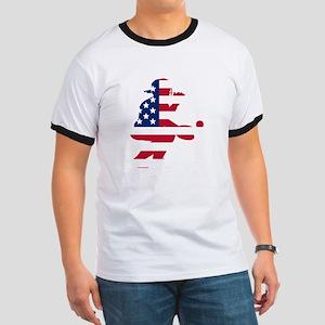 Baseball Catcher American Flag T-Shirt