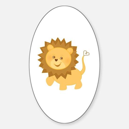 Cute Lion cub Sticker (Oval)