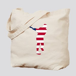 Baseball Batter American Flag Tote Bag