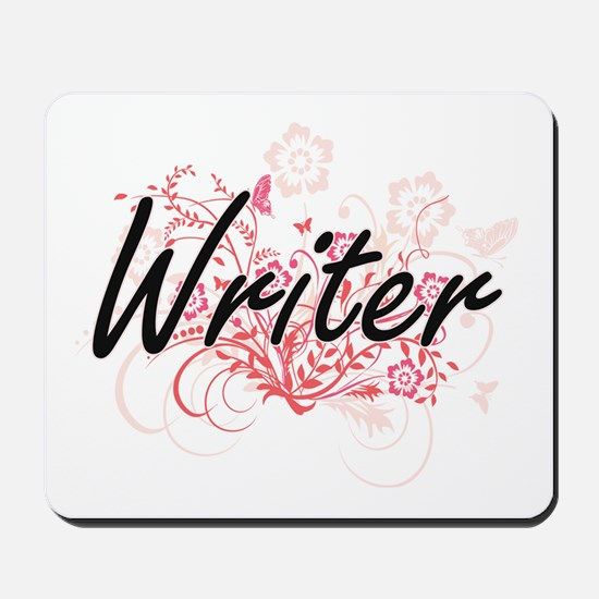 Writer Artistic Job Design with Flowers Mousepad