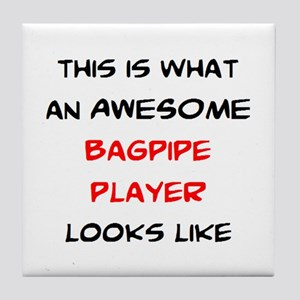 awesome bagpipe player Tile Coaster