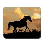 Horse And Dog At Play Mousepad